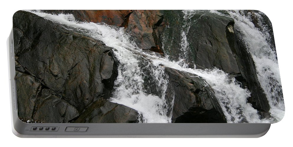 Water Waterfall Rush Rushing Cold River Creek Stream Rock Stone Wave White Wet Portable Battery Charger featuring the photograph Might by Andrei Shliakhau