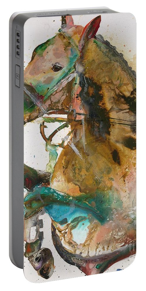 Horse Portable Battery Charger featuring the painting Might As Well Jump by Kasha Ritter