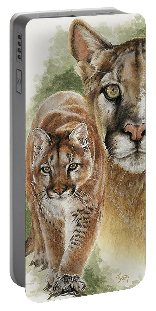 Cougar Portable Battery Charger featuring the mixed media Mighty by Barbara Keith