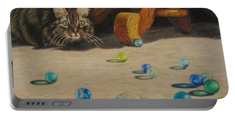 Cats Portable Battery Charger featuring the drawing Mighty Hunter by Karen Ilari
