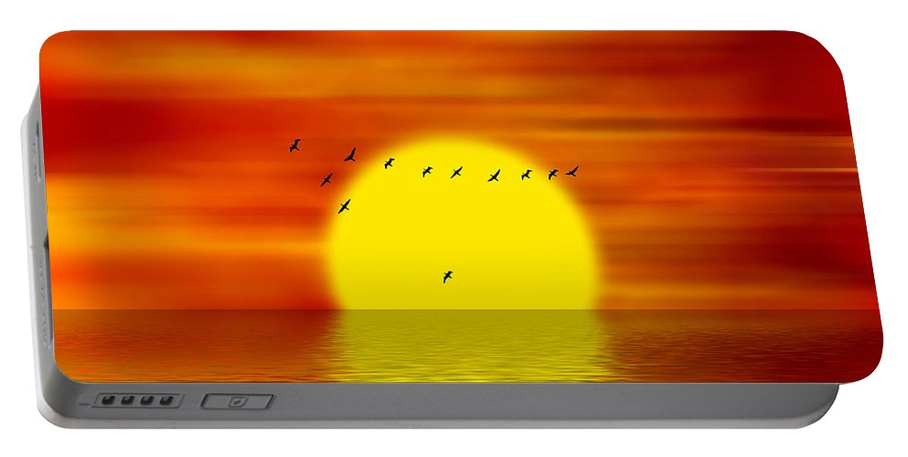 Sunset Portable Battery Charger featuring the digital art Migrating Birds by Michal Boubin