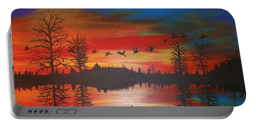 Primitive Portable Battery Charger featuring the painting Migration At Summer's End by Susan Michutka
