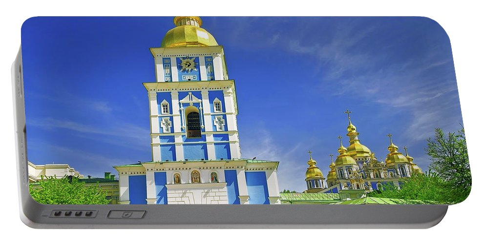 Church Portable Battery Charger featuring the photograph Mikhailovsky Golden-roof Cathedral by Nataly Raikhel