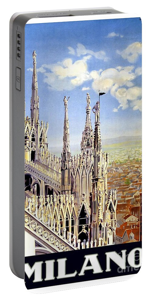 Milan Travel Print Portable Battery Charger featuring the painting Milan Travel Print by Pd