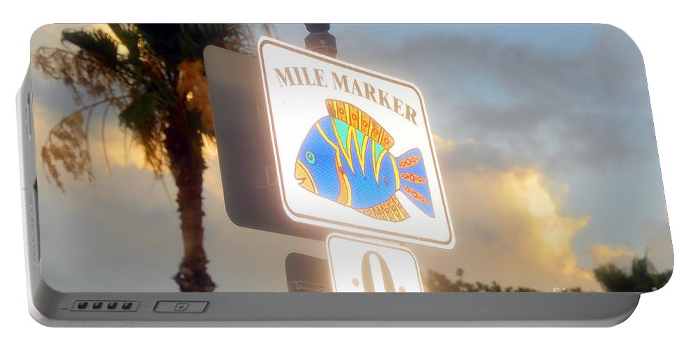 Mile Marker Portable Battery Charger featuring the photograph Mile Marker Zero by David Lee Thompson