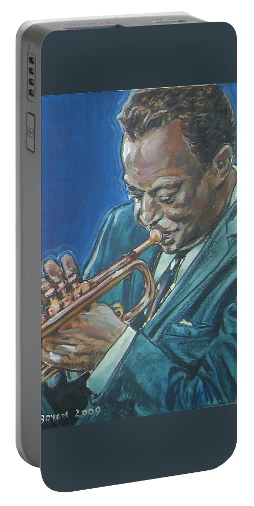 Miles Davis Portable Battery Charger featuring the painting Miles Davis by Bryan Bustard