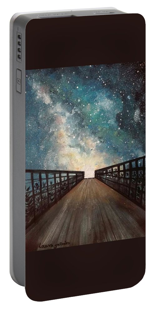 Sky Portable Battery Charger featuring the painting Milky Way by Laura Yacoub