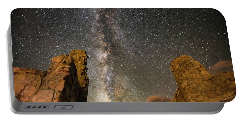 Milky Way Portable Battery Charger featuring the photograph Milky Way Over Crest House by Angie Harris