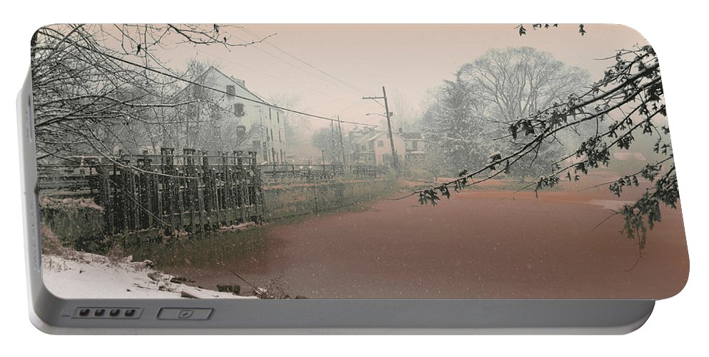 Allentown Portable Battery Charger featuring the mixed media Mill Pond Snow by Ericka O'Rourke
