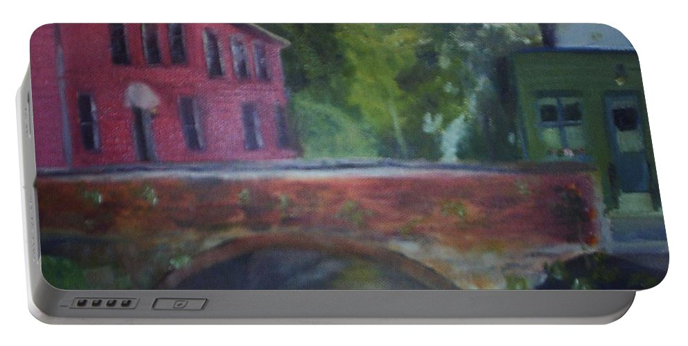 Mill Street Portable Battery Charger featuring the painting Mill Street Plein Aire by Sheila Mashaw