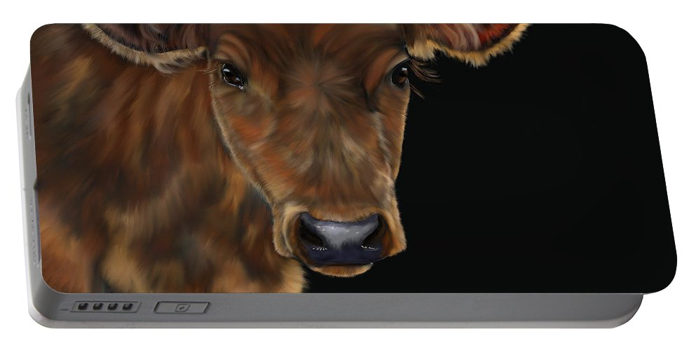 Cow Art Canvas Prints Portable Battery Charger featuring the painting Milo by Michelle Wrighton