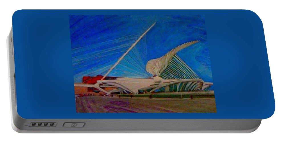 Mam Portable Battery Charger featuring the mixed media Milwaukee Art Museum by Anita Burgermeister