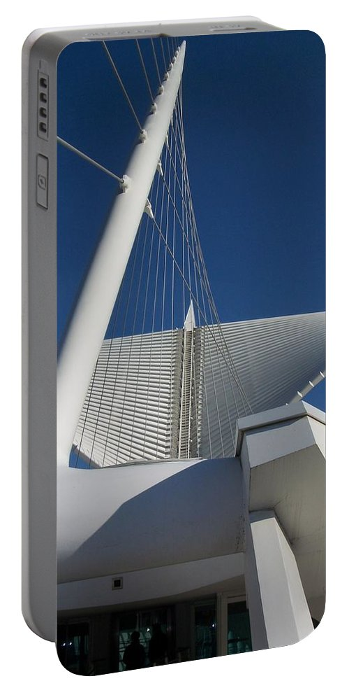 Mam Portable Battery Charger featuring the photograph Milwaukee Art Museum Cropped by Anita Burgermeister