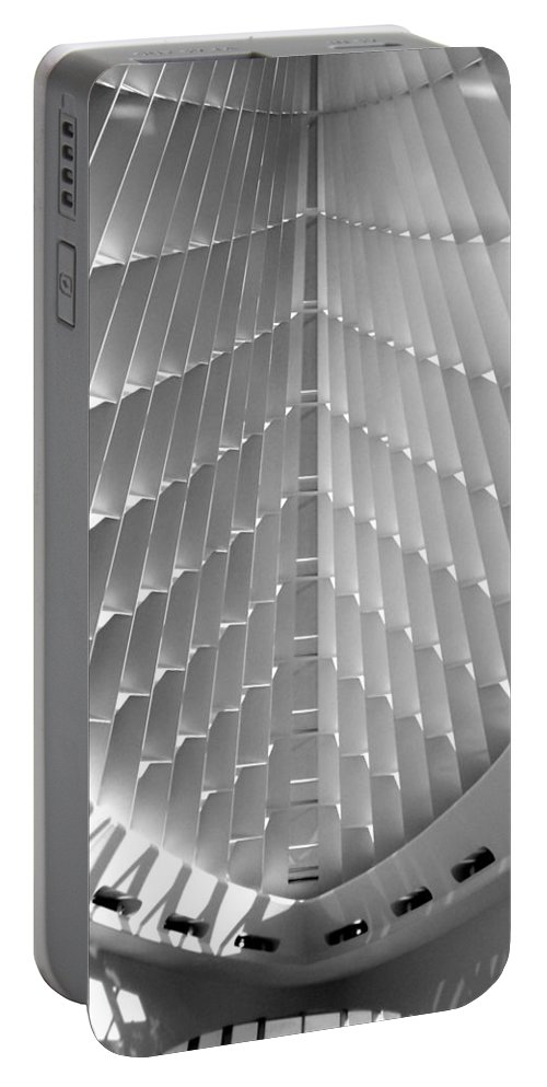 Mam Portable Battery Charger featuring the photograph Milwaukee Art Museum Interior B-w by Anita Burgermeister