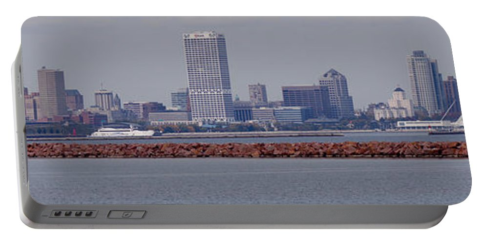 Skyline Portable Battery Charger featuring the photograph Milwaukee by Brooke Bowdren