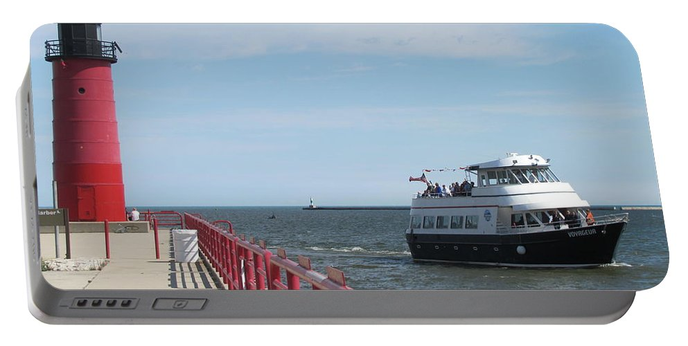 Milwaukee Portable Battery Charger featuring the photograph Milwaukee Harbor And Boat by Anita Burgermeister
