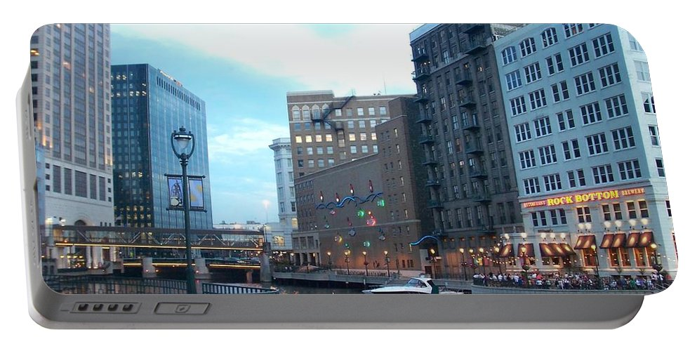 Milwaukee Portable Battery Charger featuring the photograph Milwaukee River Walk by Anita Burgermeister