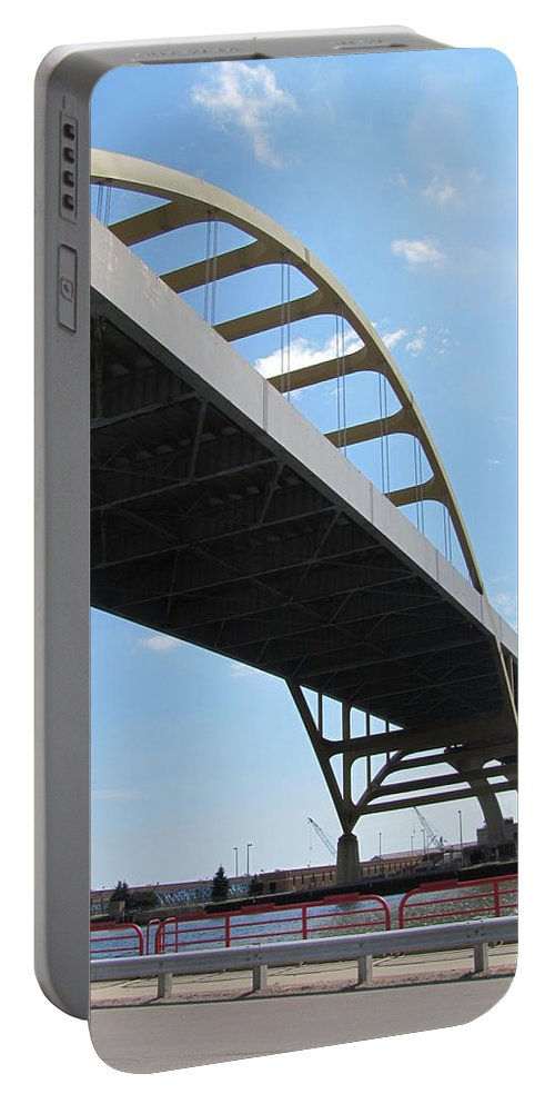 Milwaukee Portable Battery Charger featuring the photograph Milwaukee Under The Hoan Bridge by Anita Burgermeister