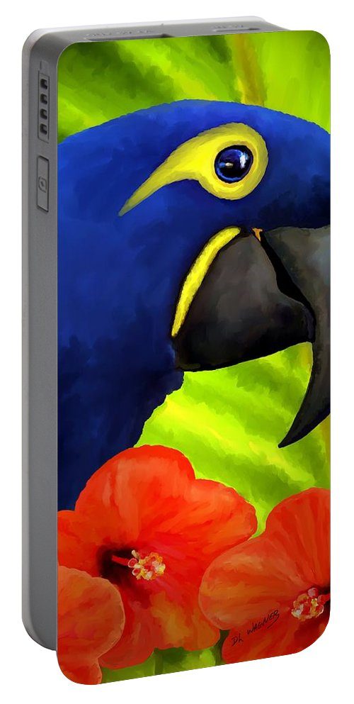 Hyacinth Macaw Portable Battery Charger featuring the painting Mimi by David Wagner