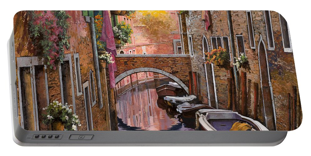 Venice Portable Battery Charger featuring the painting Mimosa Sui Canali by Guido Borelli