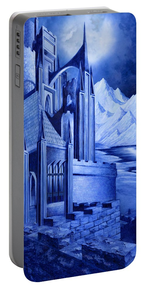 Lord Of The Rings Portable Battery Charger featuring the mixed media Minas Tirith by Curtiss Shaffer