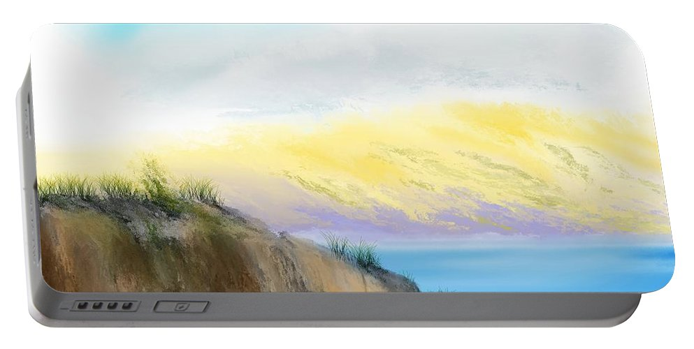 Landscape Portable Battery Charger featuring the digital art Mindscape - Hazy Day Along The Coast by David Lane