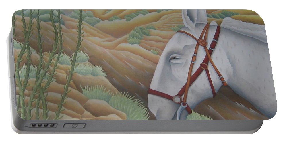 Burro Portable Battery Charger featuring the painting Miner's Companion by Jeniffer Stapher-Thomas