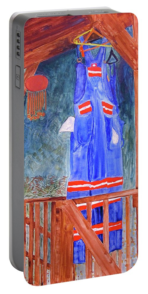 Miner Portable Battery Charger featuring the painting Miner's Overalls by Sandy McIntire
