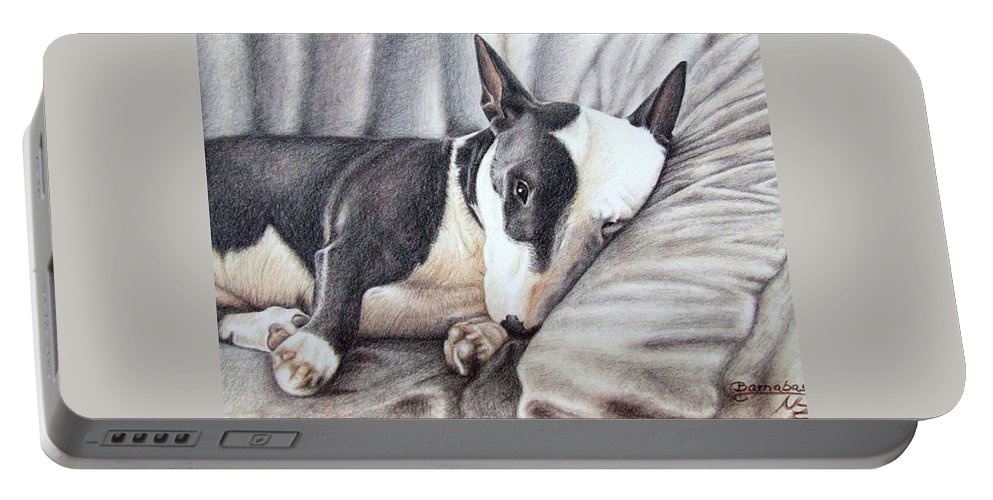 Dog Portable Battery Charger featuring the drawing Mini Bulldog Terrier by Nicole Zeug