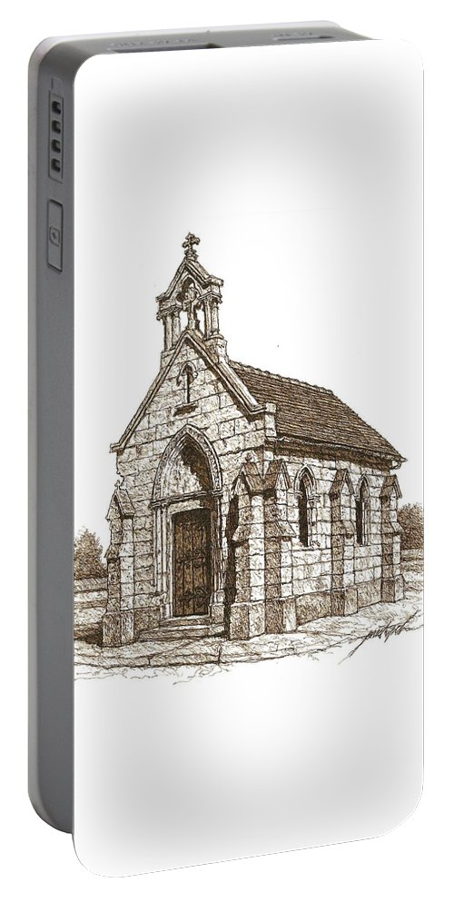 Stone Portable Battery Charger featuring the drawing Miniature Church Of Froberville by Larry Prestwich