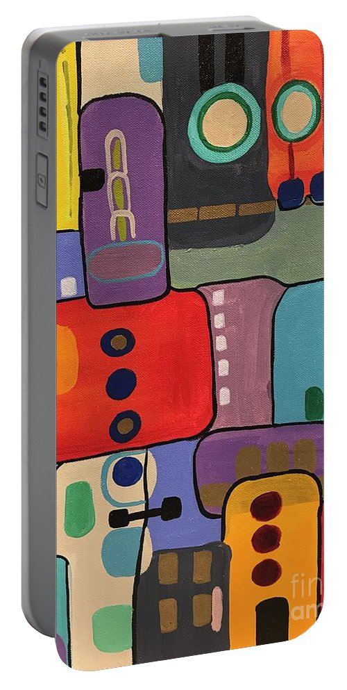 Abstract Portable Battery Charger featuring the painting Minions by Mimi Mix