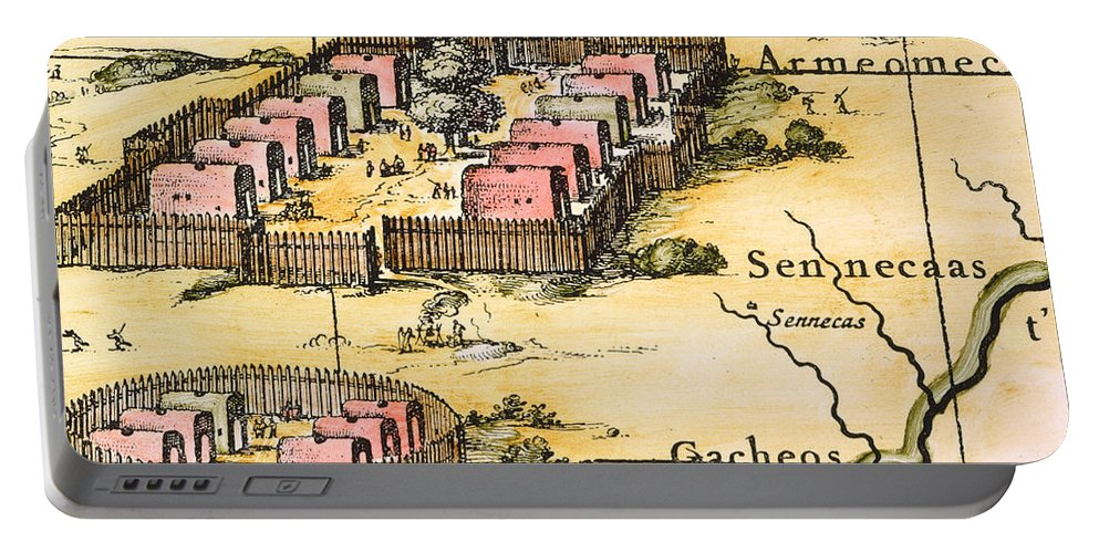 1650s Portable Battery Charger featuring the photograph Minisink Village, 1650s by Granger