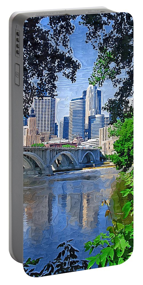 Minneapolis Portable Battery Charger featuring the photograph Minneapolis Through The Trees by Tom Reynen