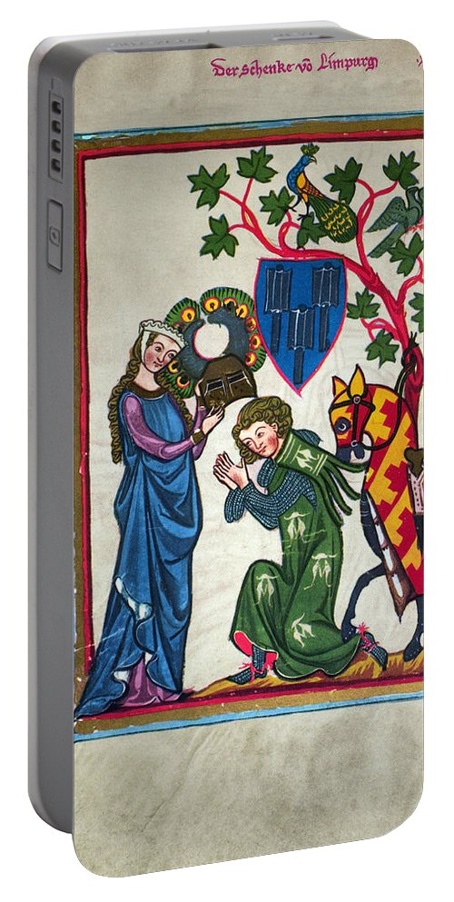 14th Century Portable Battery Charger featuring the photograph Minnesinger, 14th Century by Granger