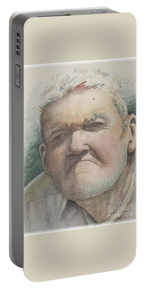 Portrait Portable Battery Charger featuring the painting Minnesota Farmer by Nadine Rippelmeyer