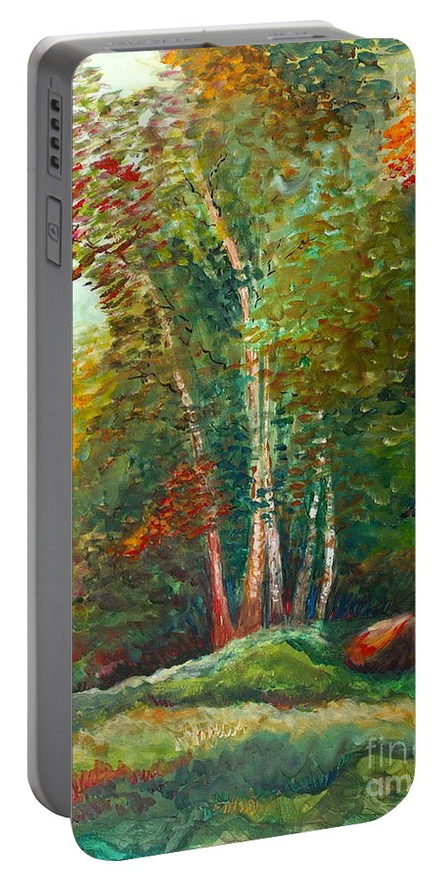 Landscape Portable Battery Charger featuring the painting Minnesota Quartet by Nadine Rippelmeyer