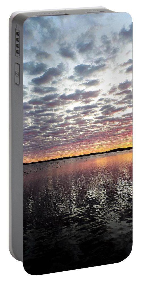 Lake Portable Battery Charger featuring the photograph Minnesota Sunrise by Tracy Welter