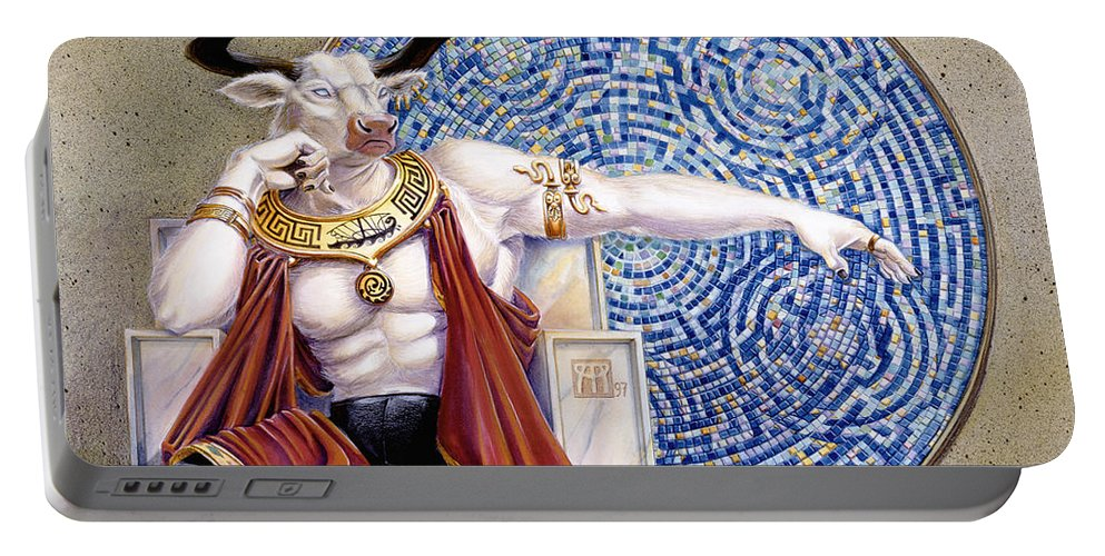 Anthropomorphic Portable Battery Charger featuring the painting Minotaur With Mosaic by Melissa A Benson