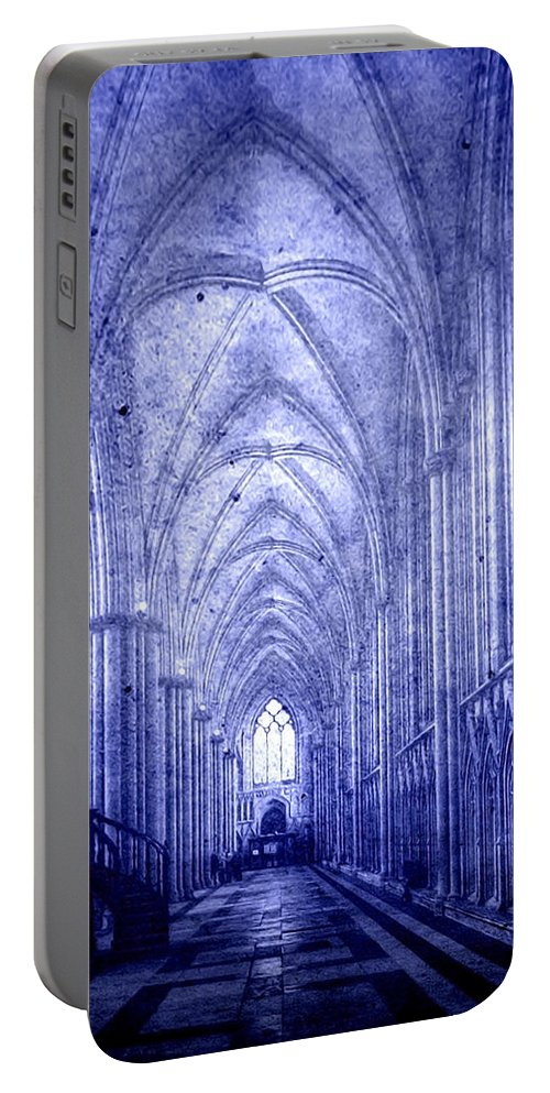Abbey Portable Battery Charger featuring the photograph Minster In Blue by Svetlana Sewell