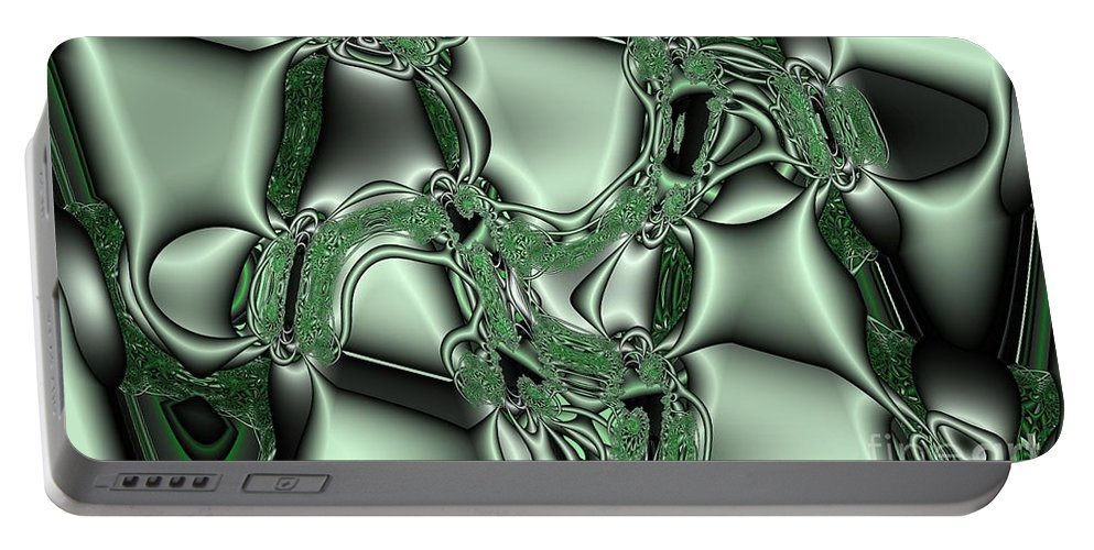 Abstract Portable Battery Charger featuring the digital art Mint Kelp by Ron Bissett