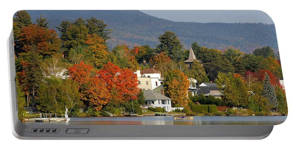 Adirondack Mountains Portable Battery Charger featuring the photograph Mirror Lake by David Lee Thompson