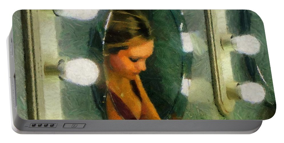 Bridesmaid Portable Battery Charger featuring the painting Mirror Mirror On The Wall by Jeffrey Kolker