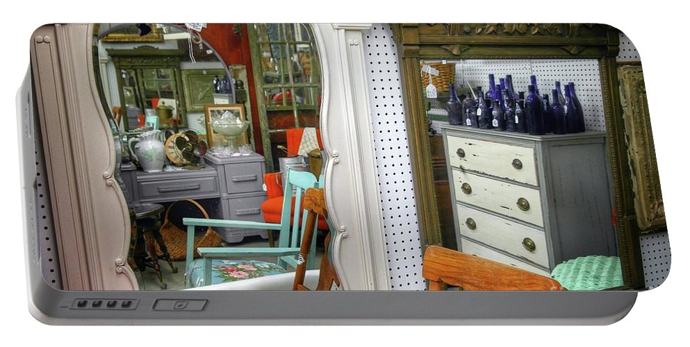 Antique Store Portable Battery Charger featuring the photograph Mirror Reflections by John Myers