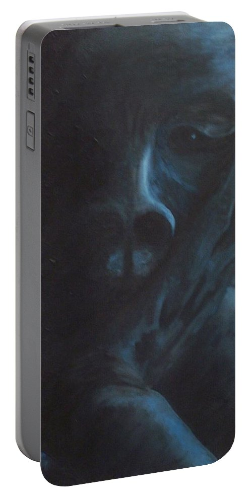 Sad Portable Battery Charger featuring the painting Misery by Gale Cochran-Smith