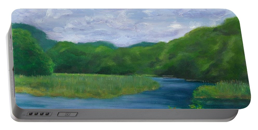Landscape Portable Battery Charger featuring the painting Miss Florences Backyard by Paula Emery