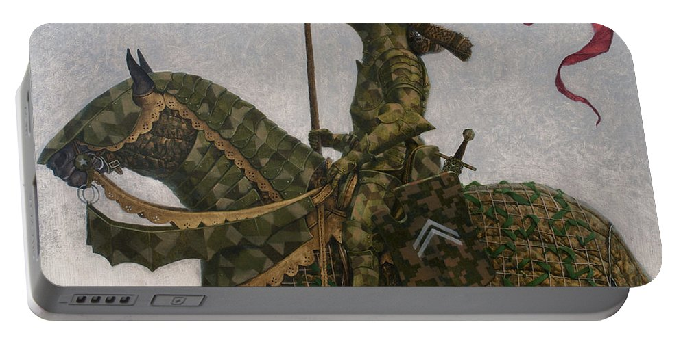 Konstantinkorobov Portable Battery Charger featuring the painting Miss Fluff Claudette Barjoud by Konstantin Korobov