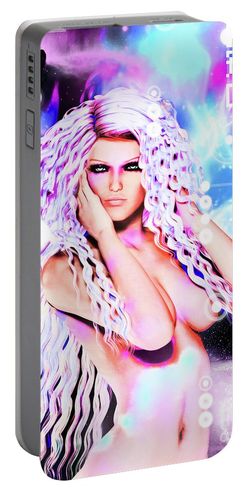 Pin-up Portable Battery Charger featuring the mixed media Miss Inter-dimensional 2089 by Alicia Hollinger