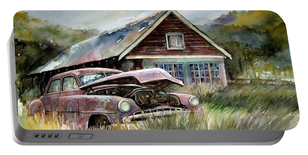 Car House Portable Battery Charger featuring the painting Miss Wilson's House by Ron Morrison