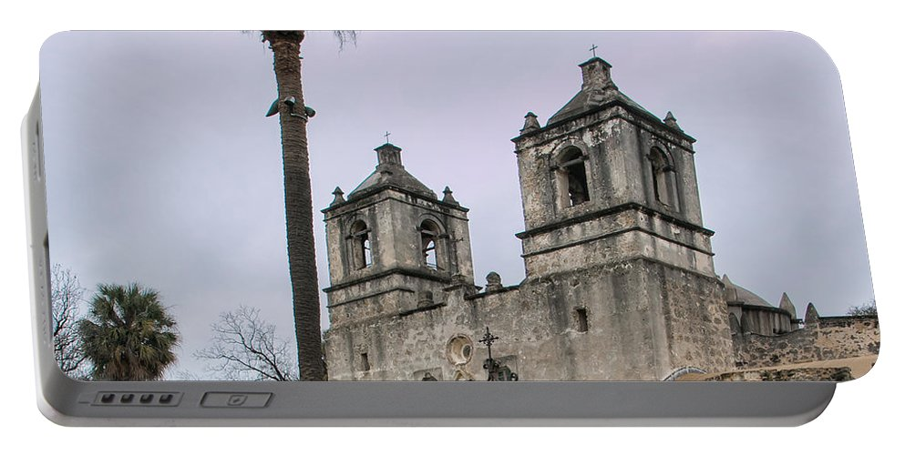 Mission Nuestra Senora De La Purisima Concepcion De Acuna Portable Battery Charger featuring the photograph Mission Concepcion With Well And Tree by Jurgen Lorenzen