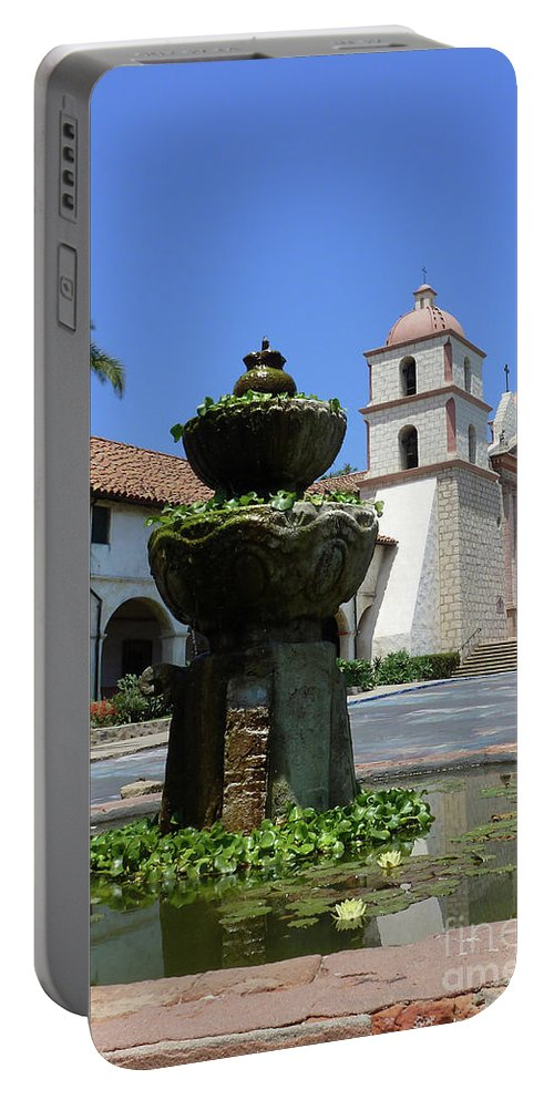 Mission Fountain Portable Battery Charger featuring the photograph Mission Fountain by Methune Hively